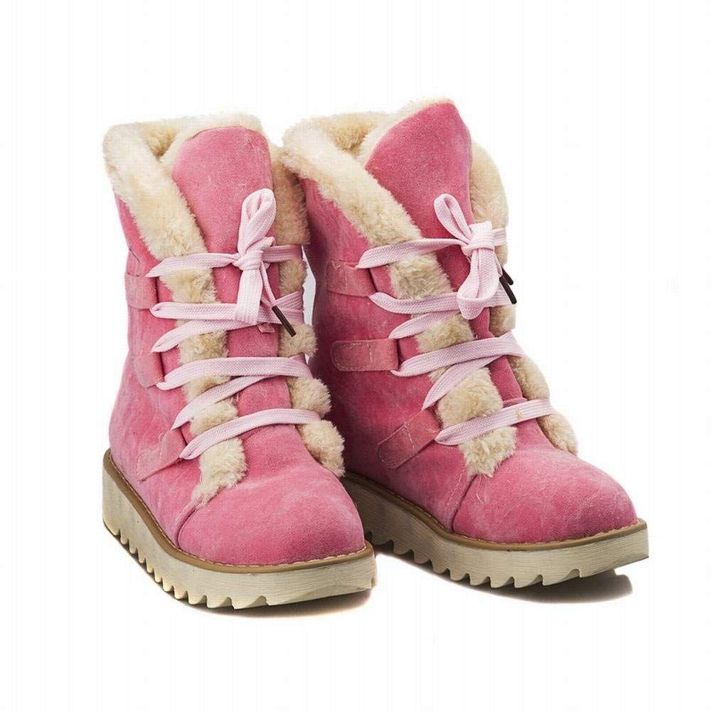 4f81b8a23e5 Carol Shoes Fashion Women's Winter Use Lace-up Casual Faux Fur ...