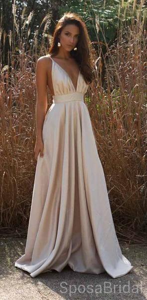 Charming Cheap A-line Spaghetti Straps A-line V Neck Long Modest Prom Dresses, PD1250