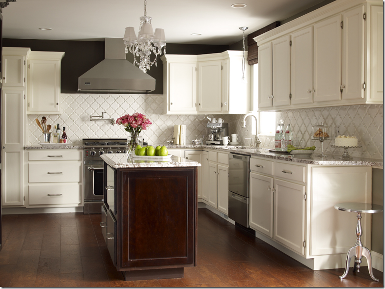backsplash is white tiles from mission stone and tile