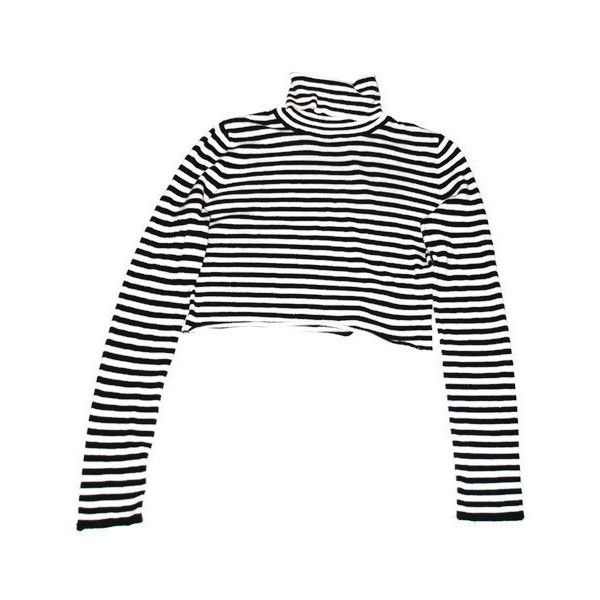 aeb5e9d8e7 black white striped turtle neck crop top 90s grunge cropped turtleneck...  ( 35) ❤ liked on Polyvore featuring tops