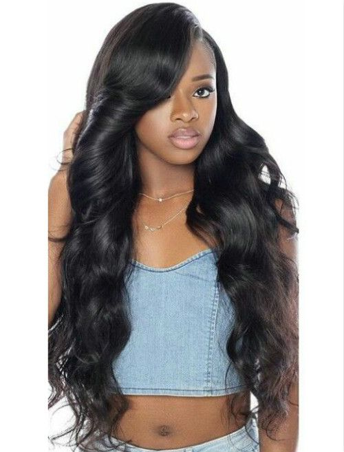 Side part body wave wavy long hairstyles wigs for black women lace ...