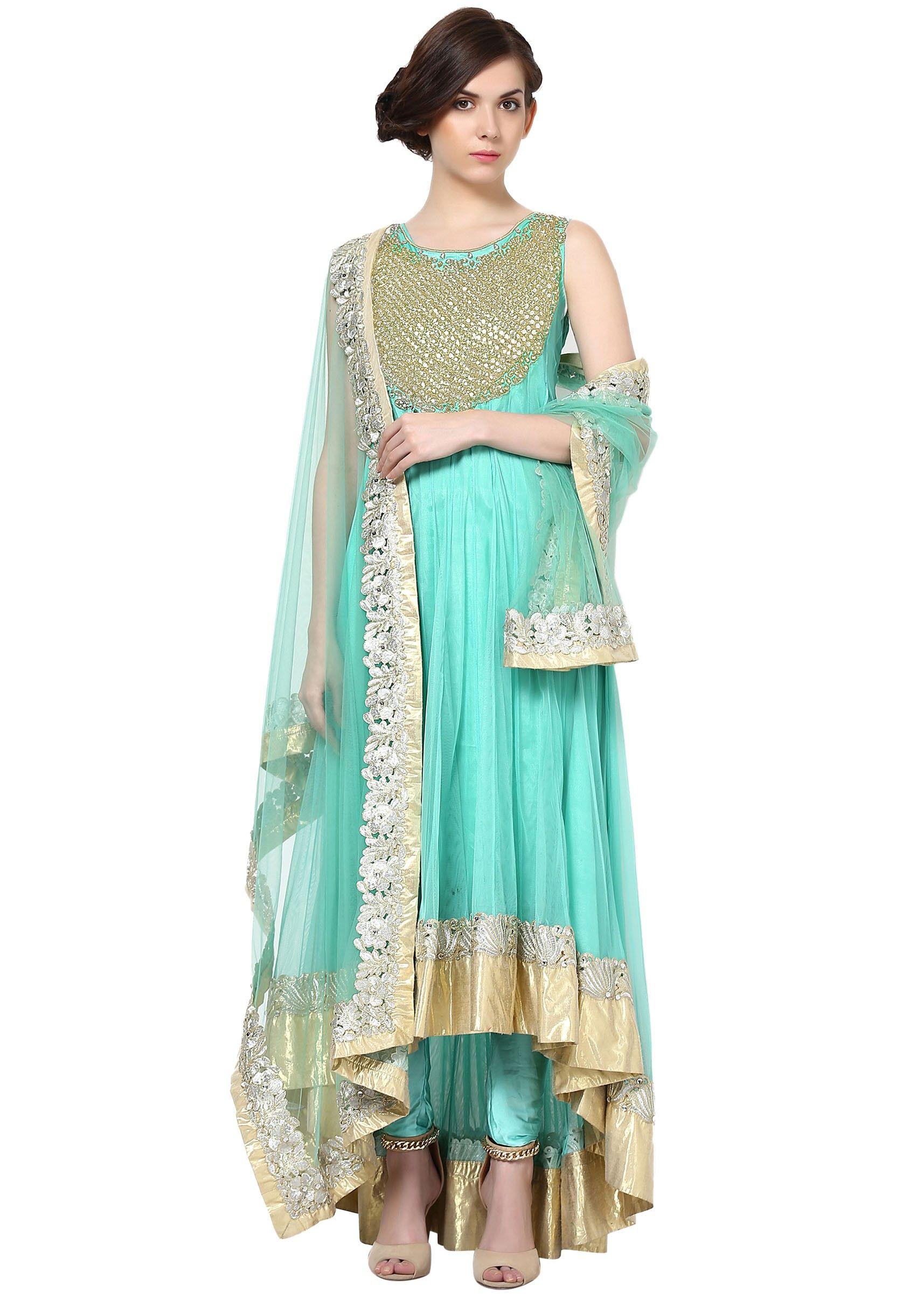 Sky blue anarkali suit embellished in kundan embroidery | Fashion ...