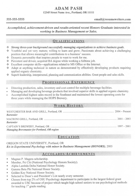 Good MBA, Business Management or Sales candidate resume