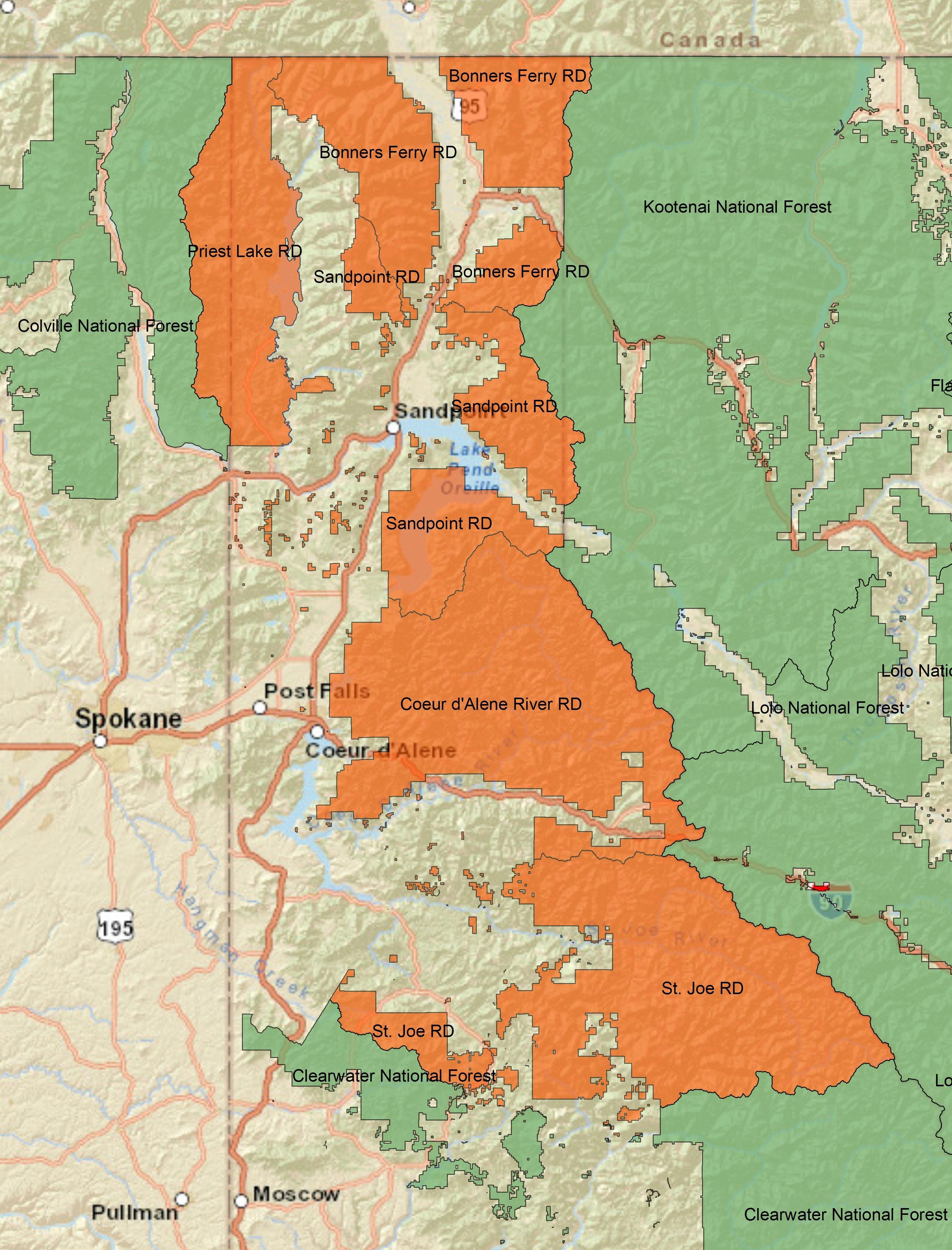 A Map Of Idaho Panhandle National Forest In Idaho Montana And Washington Idaho Map Panhandle
