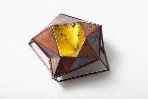 BONGSANG CHO-KOREA/USA Stellar brooch #3-copper ,enamel ,23K gold leaf,laser welding and enameling