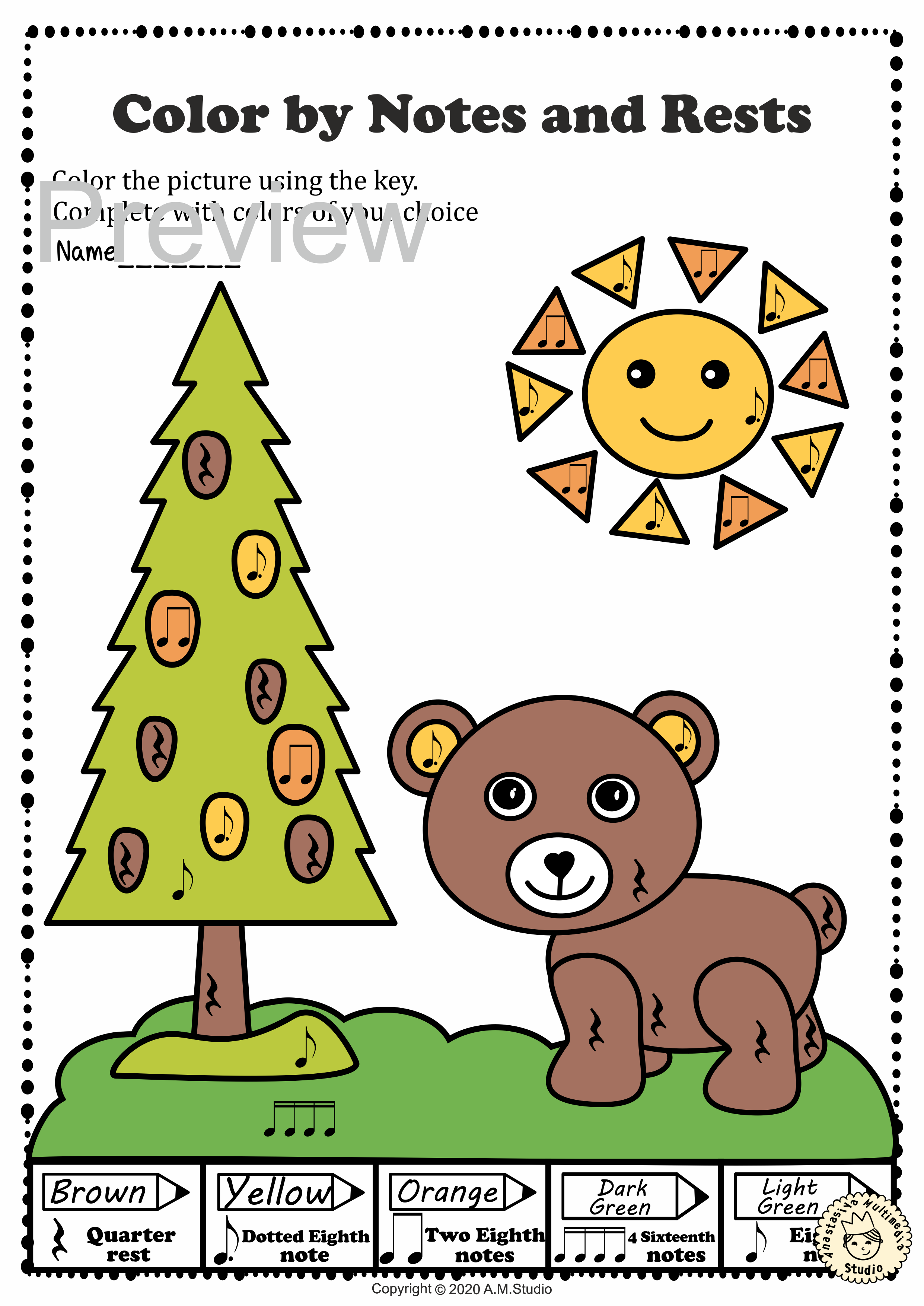 Musical Coloring Pages For Spring Color By Notes And