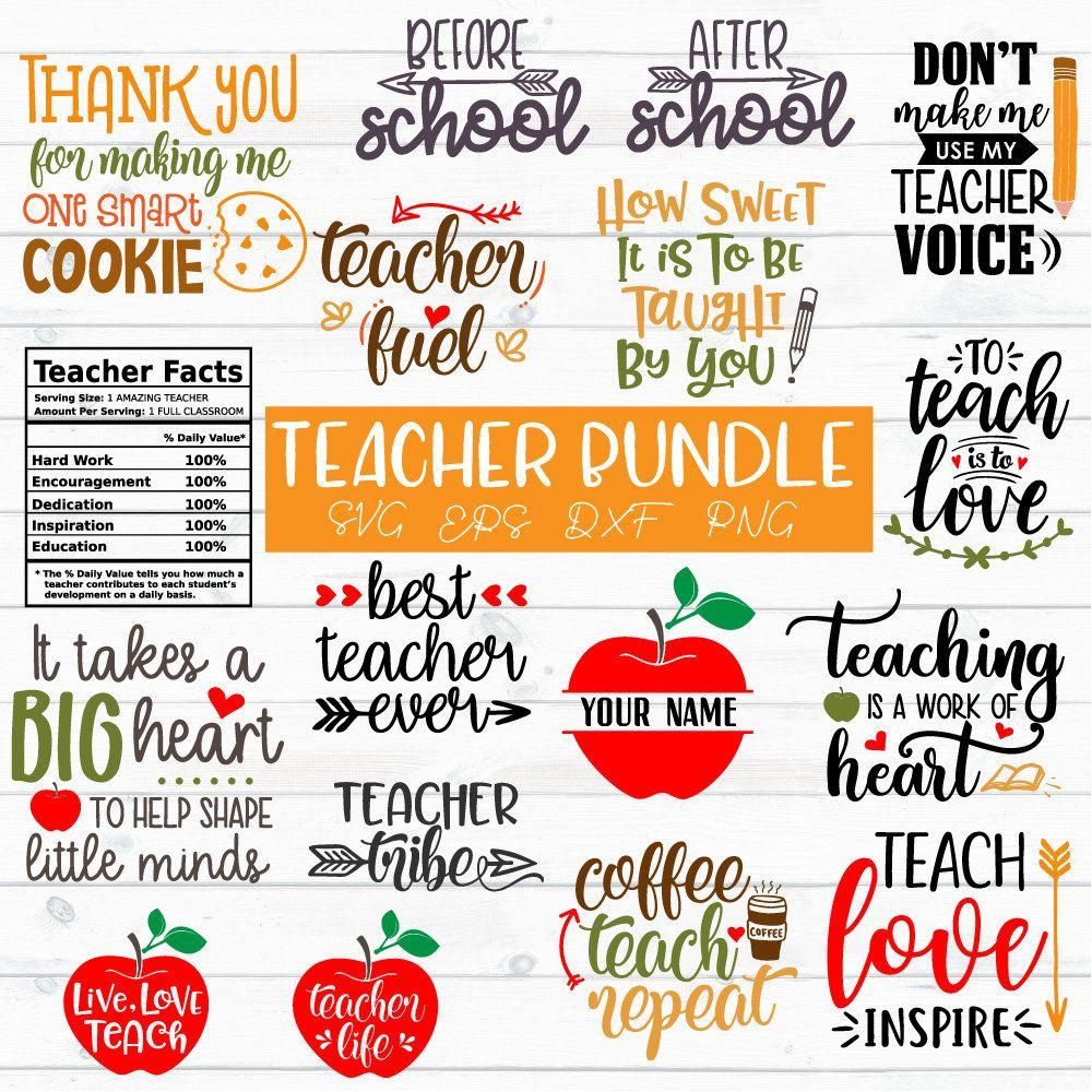 Teacher Svg Bundle Teacher Quotes Svg Teacher Appreciation Etsy Teacher Appreciation Quotes Teacher Appreciation Gifts Diy Teacher Signs