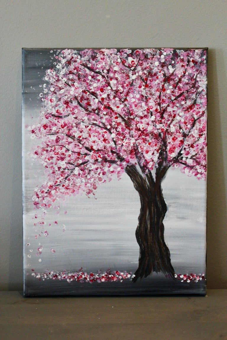 Painting A Cherry Blossom Tree With Acrylics And Cotton Swabs Diy Canvas Art Painting Canvas Painting Tutorials Cherry Blossom Painting