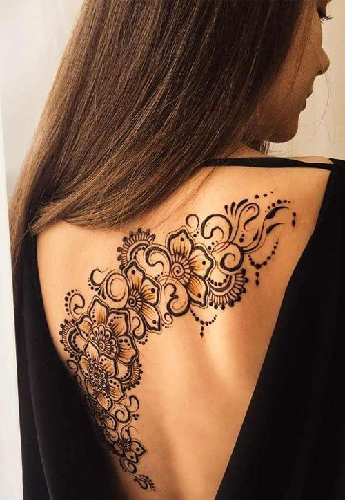 Henna Back Tattoo Drawing: Sophisticated Henna Floral Lace Tattoos On Back For Girls