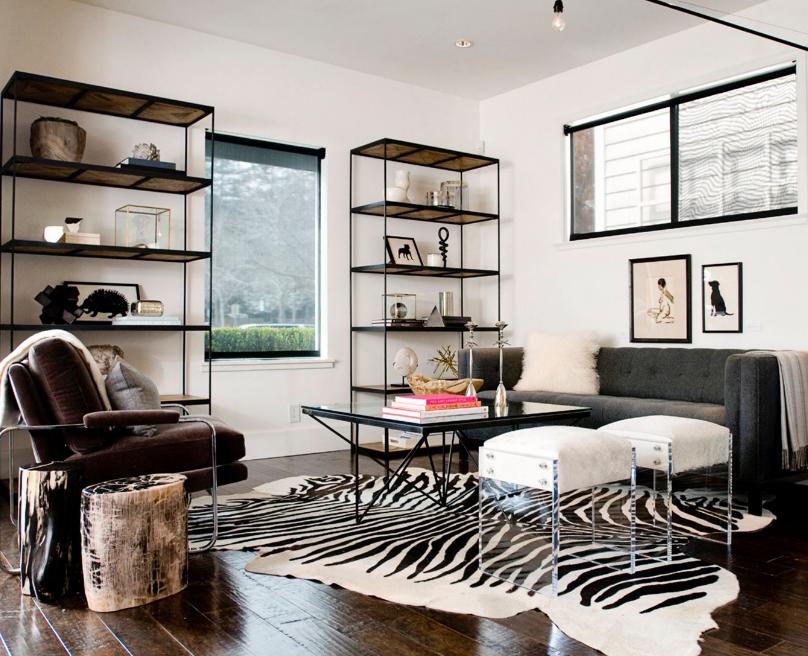 Living room zebra rug home interiors pinterest rugs for Living room ideas with zebra rug