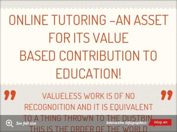 Online Tutoring –AN Asset for Its Value Based Contribution to Education!