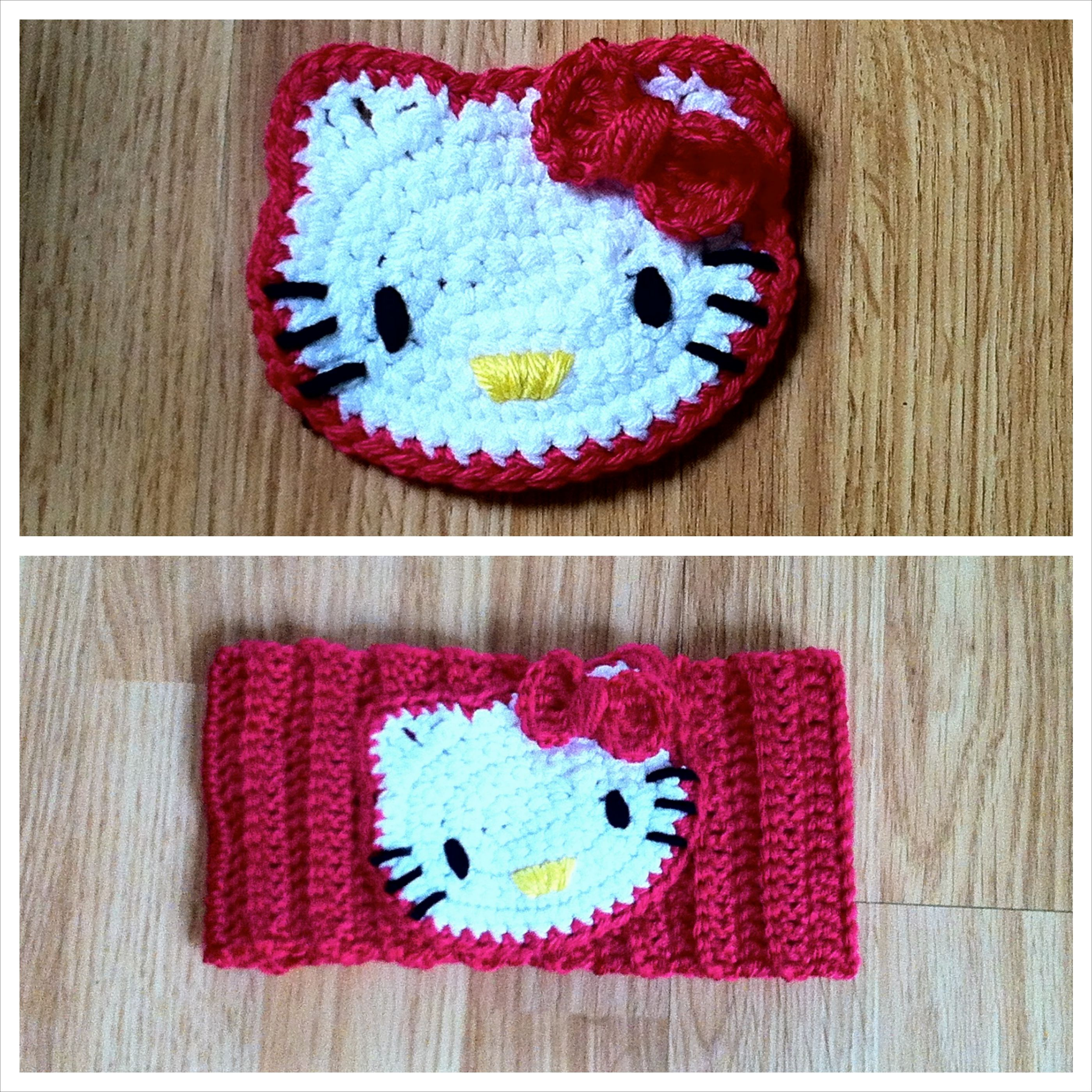 Crochet Hello Kitty Applique/Headband pattern | Crochet Applique ...