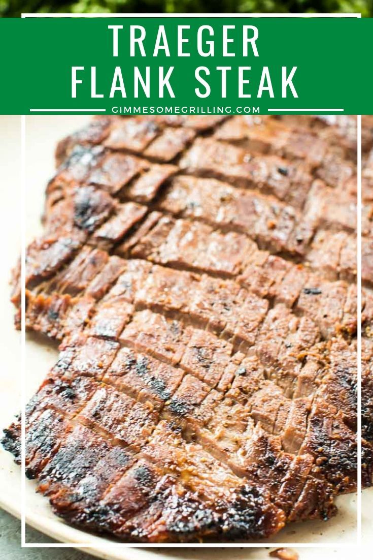 Delicious Flank Steak prepared on your Traeger! Start by marinating your flank steak in a quick and easy marinade recipe then cook it on your electric smoker! #traeger #steak #recipesforflanksteak