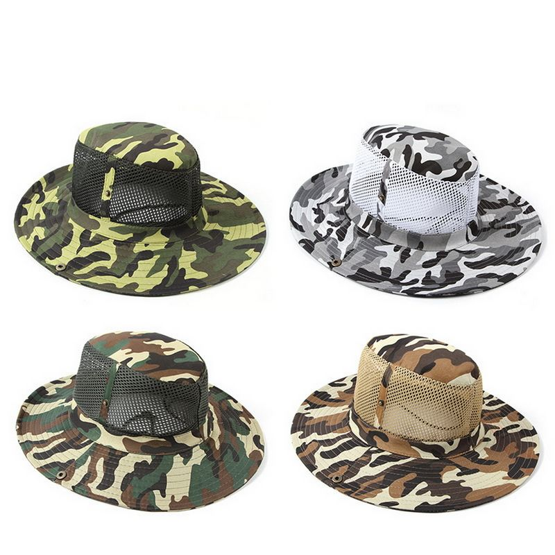 Camping Hiking Hunting Hats Mesh Cap Long Shawl Wide Brim Sunhat Camouflage
