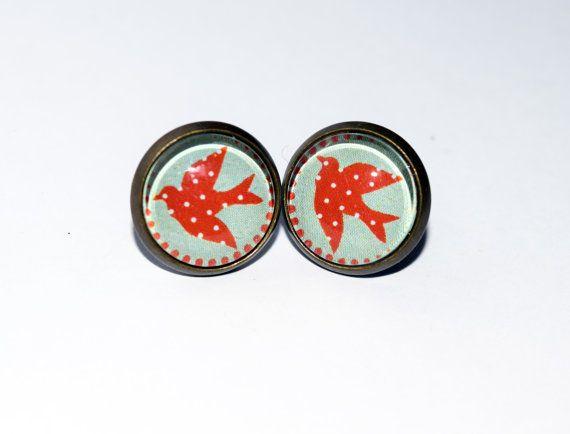 Retro Swallow Design Antique Bronze Stud by LittleMissMadeIt