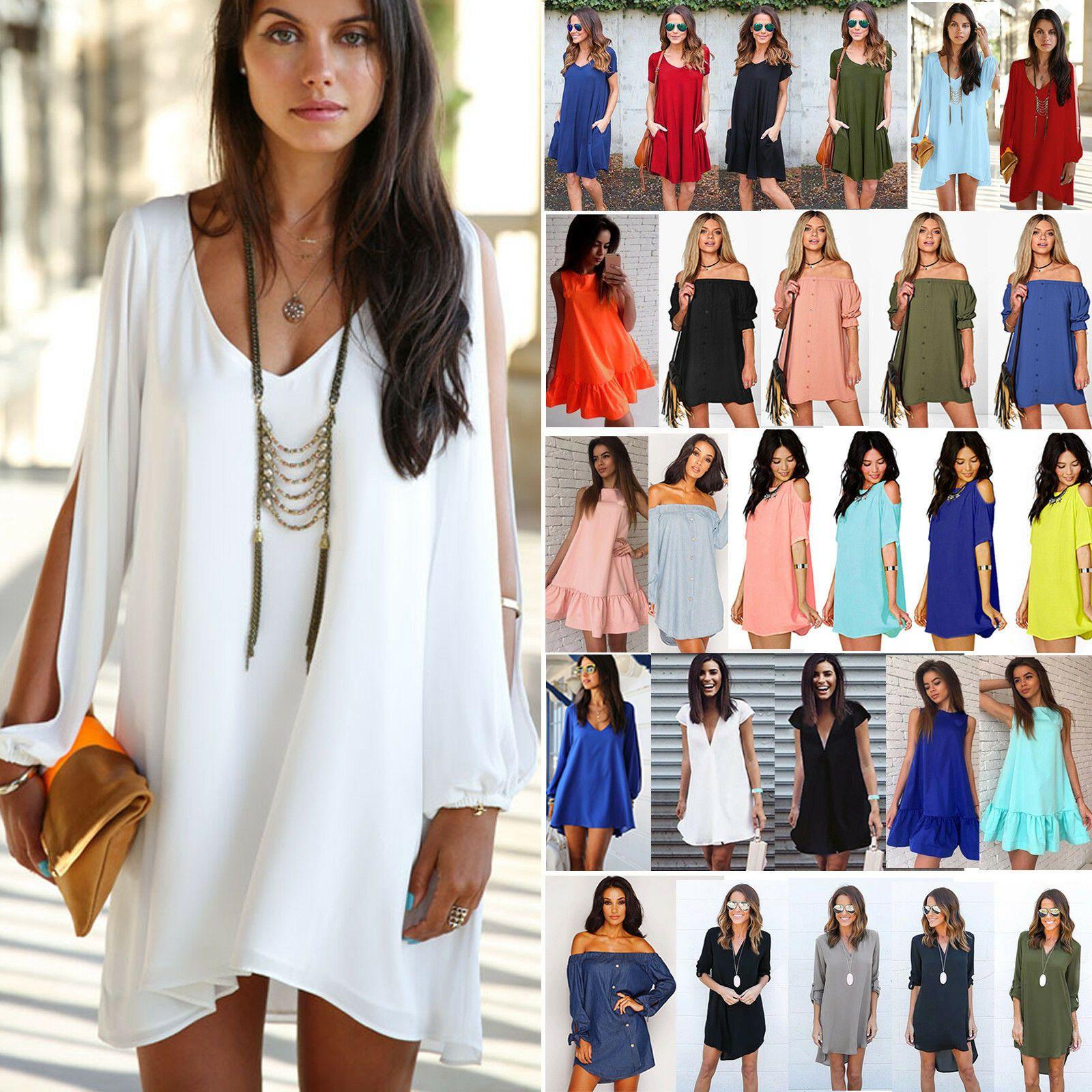 Damen Vintage Minikleid Sommer Strand Tunika Hemdkleid Longshirt Longbluse Kleid