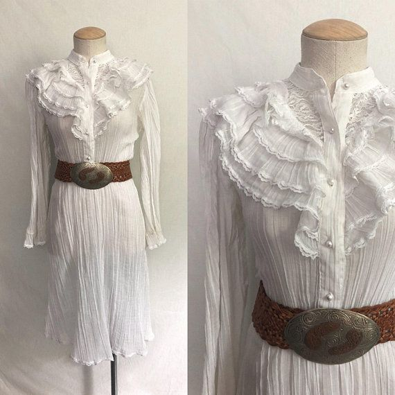 b11993f072 Vintage 70s White Victorian Ruffle Dress   High Neck Sheer Cotton Gauze  Dress   Prarie Hippie
