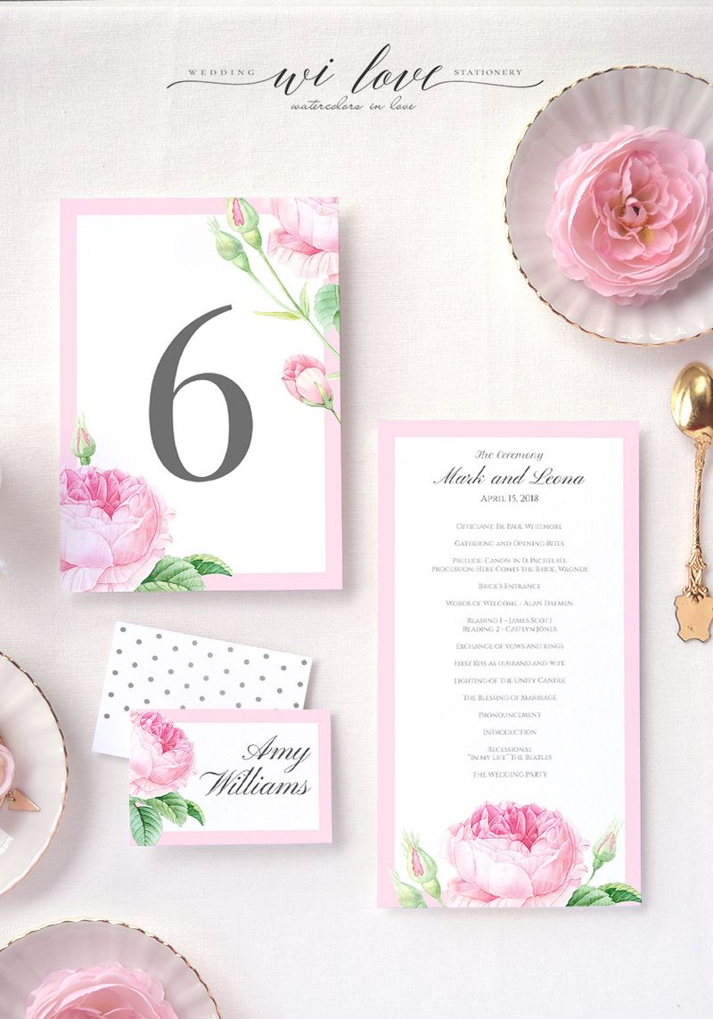 Garden English Rose Wedding Menu Place Cards And Table Number