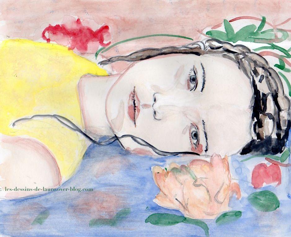 Portrait d'une jeune femme allongée - aquarelle - Format A4