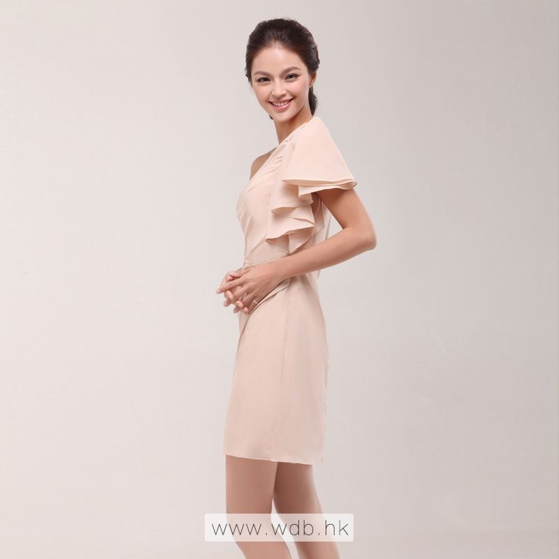 One shoulder with short sleeve fitted chiffon bridesmaid dress ...