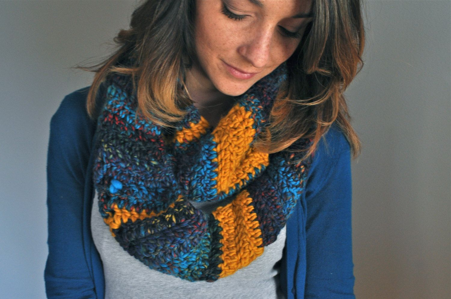 Chevron Crochet Infinity Scarf  Mustard Navy & by theComfyTimes, $60.00