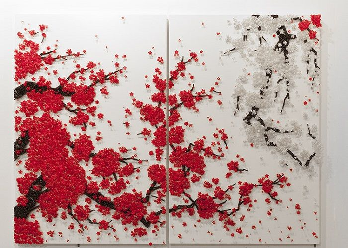 """""""Ran Hwang is best known for her large-scale wall installations in which buttons, beads, pins, and threads on wood panels form images"""""""