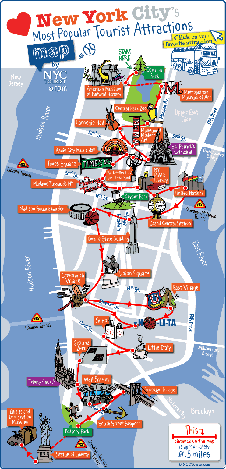 New York City Most Popular Attractions Map New York Travel Map Of New York New York City Travel