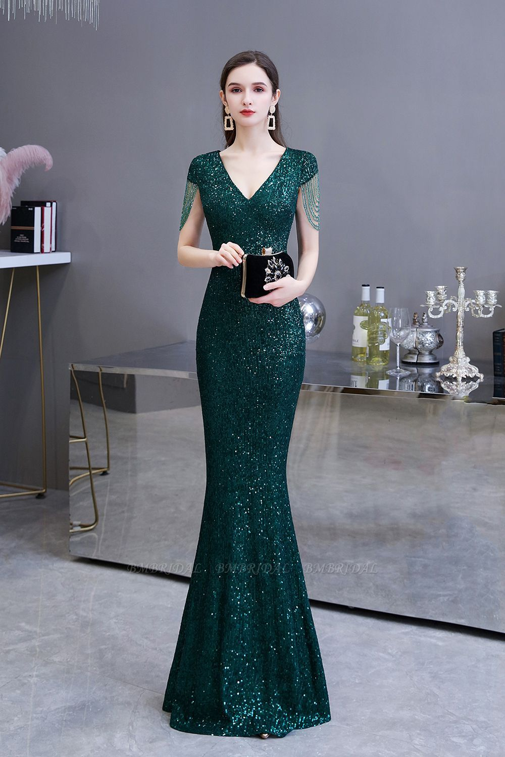 Bmbridal Elegant Cap Sleeve Green Prom Dress Sequins Long Evening Gowns Online In 2021 Green Prom Dress Green Prom Dress Long Prom Dresses Long With Sleeves [ 1500 x 1000 Pixel ]