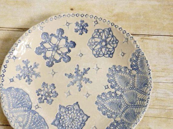 Blue ceramic handmade dish with antique lace design