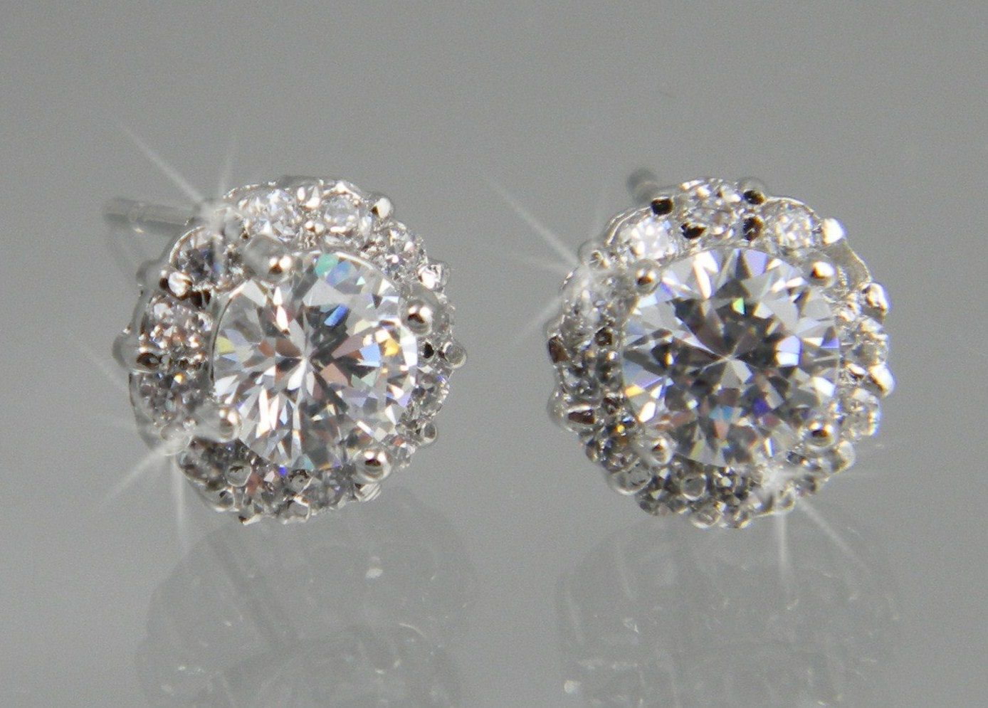 Crystal Stud Earrings Bridal Wedding Bridesmaids Small And Dainty Silver Tone Rose Gold