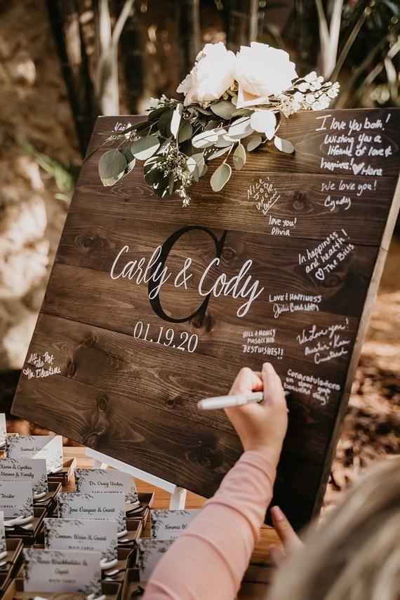 Wedding Guest Book Sign, Monogram Guestbook, Guest