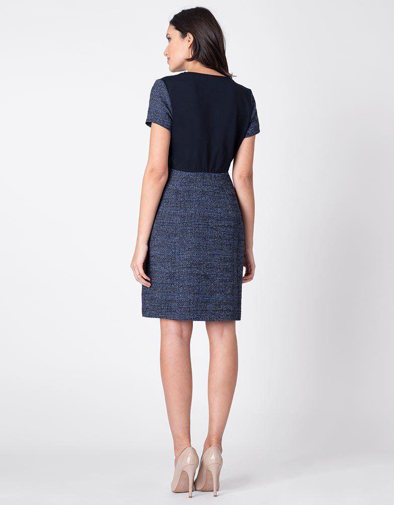 4e74f369422 Navy Blue Bouclé Maternity Shift Dress