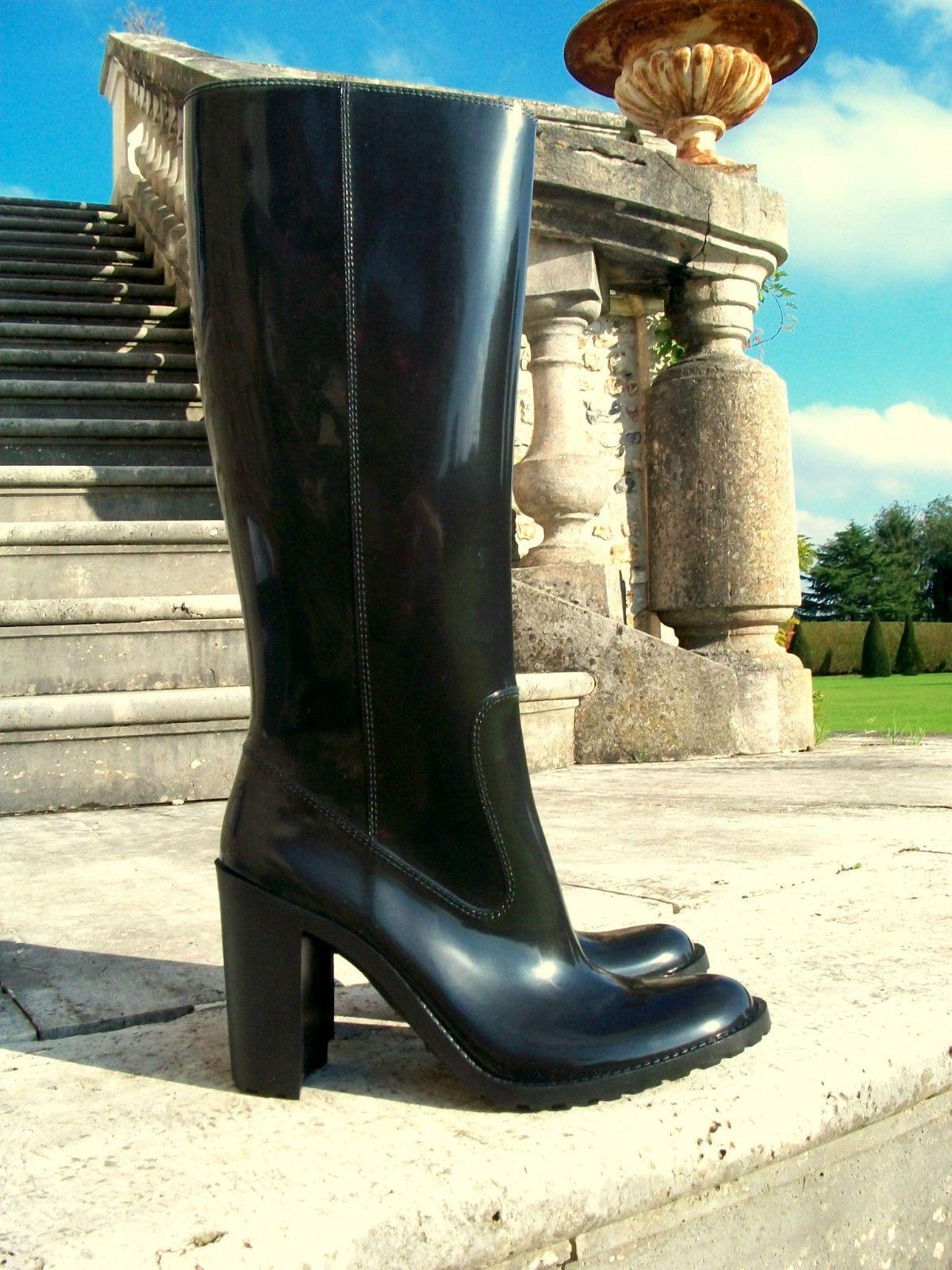 minelli high heel damen gummistiefel mit 10 cm absatz gr 38 getragen nur x 2 ebay boots. Black Bedroom Furniture Sets. Home Design Ideas