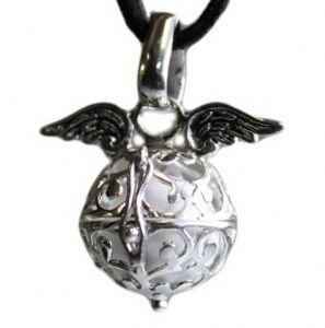 Silver Winged Angel Bell pendant - Archangel Metatron - White Ray
