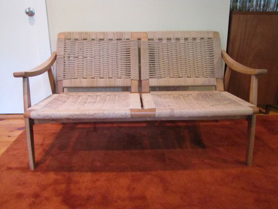 Vintage Rope Bench, Mid Century Rope Sofa, Two Person Bench, Made in Yugoslavia, Hans Wegner Style Rope Bench, VERY RARE, Rope Chair