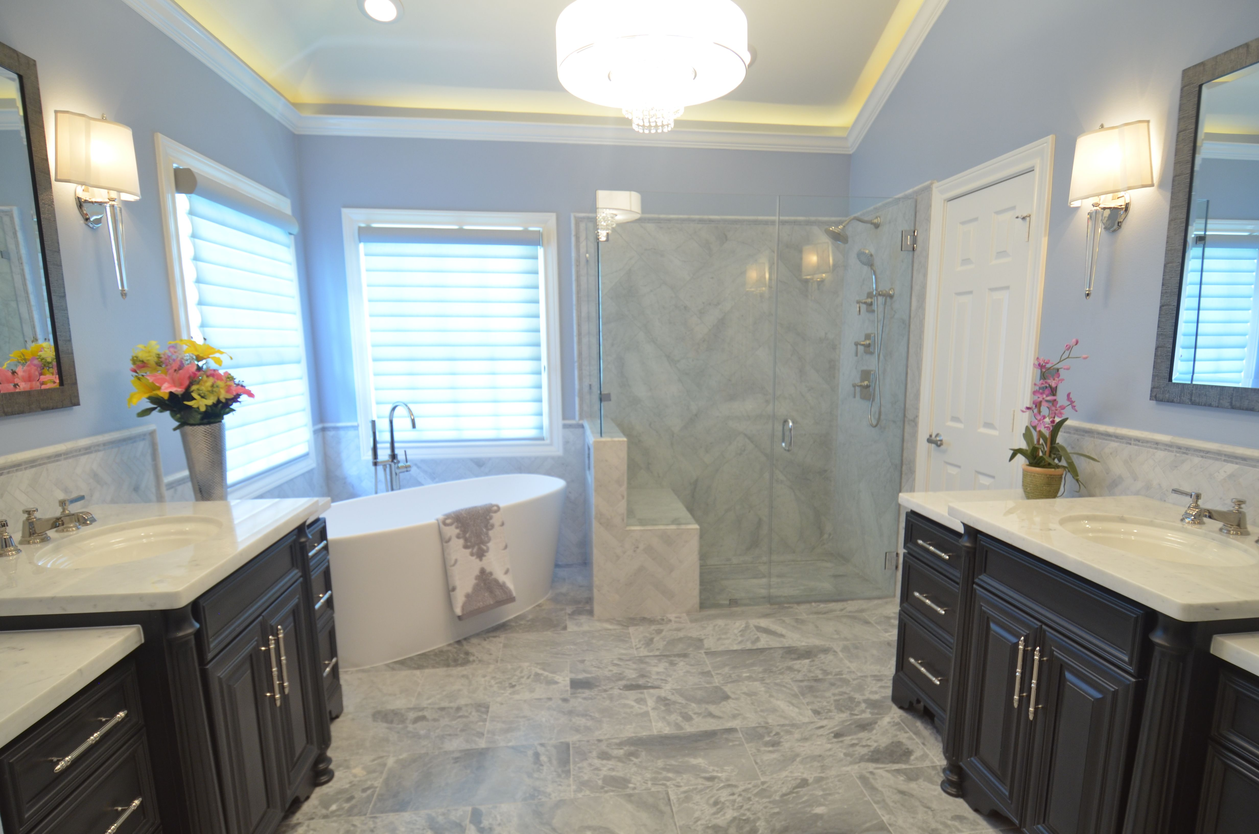walk in shower, dark painted cabinets, free- standing tub, classic ...