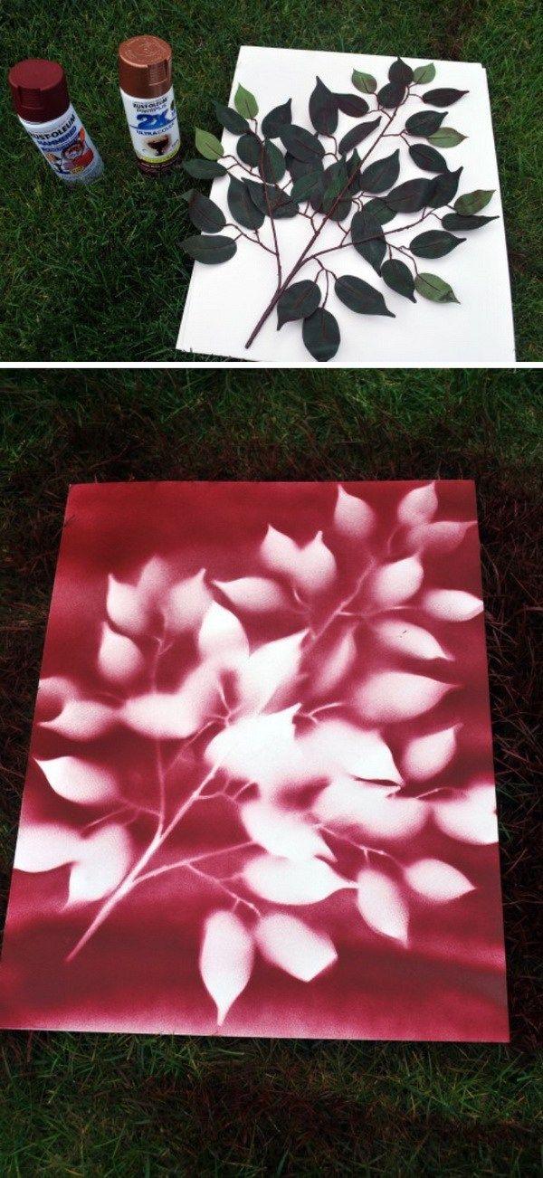 Diy spray paint leaf art