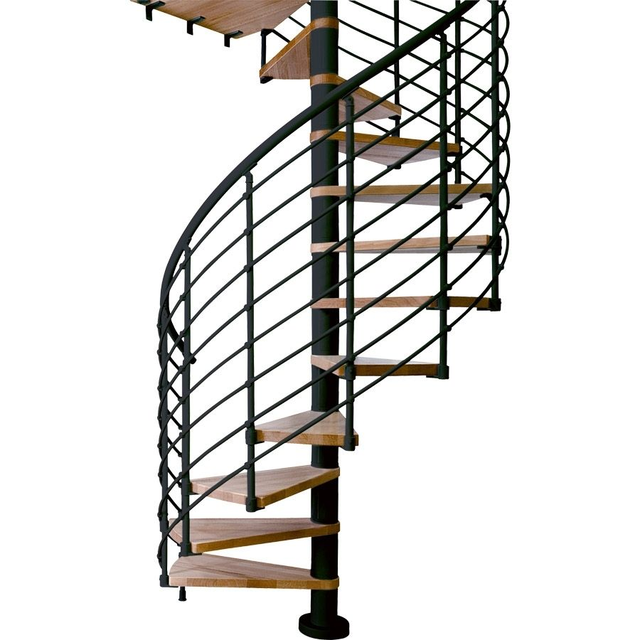 Shop Dolle Oslo 47 In X 11 5 Ft Black With Wood Treads Spiral   Outdoor Spiral Staircase Home Depot   Stair Parts   Stair Case   Steel Spiral   Stair Kit   Handrail