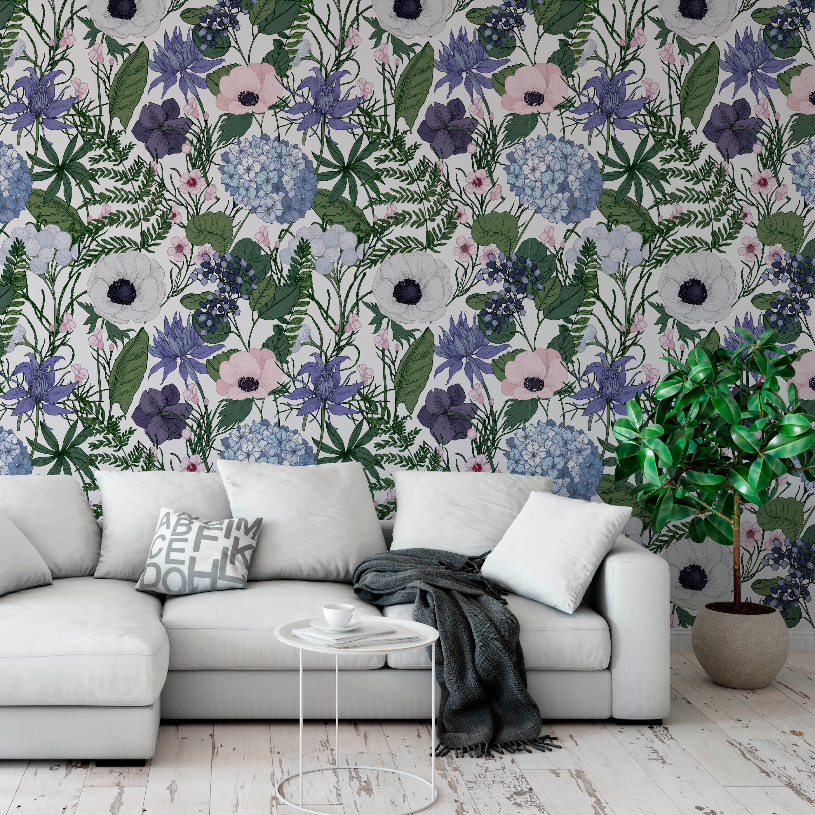 Flower Forest Removable Wallpaper Self Adhesive Peel And Stick Wallpaper A089 For Relaxing X In 2020 Removable Wallpaper Peel And Stick Wallpaper Decor