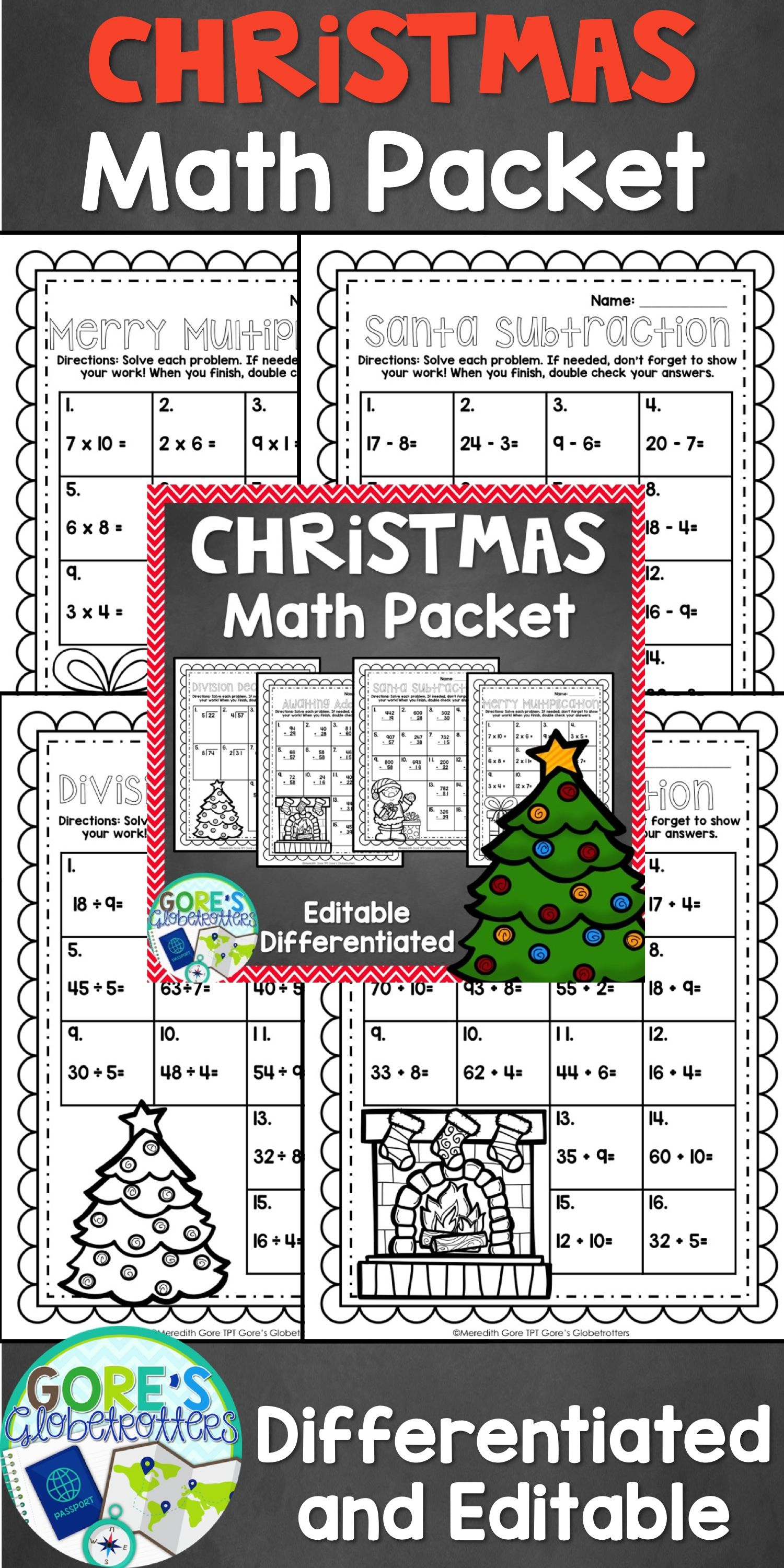 Christmas Math Worksheets - Differentiated and Editable