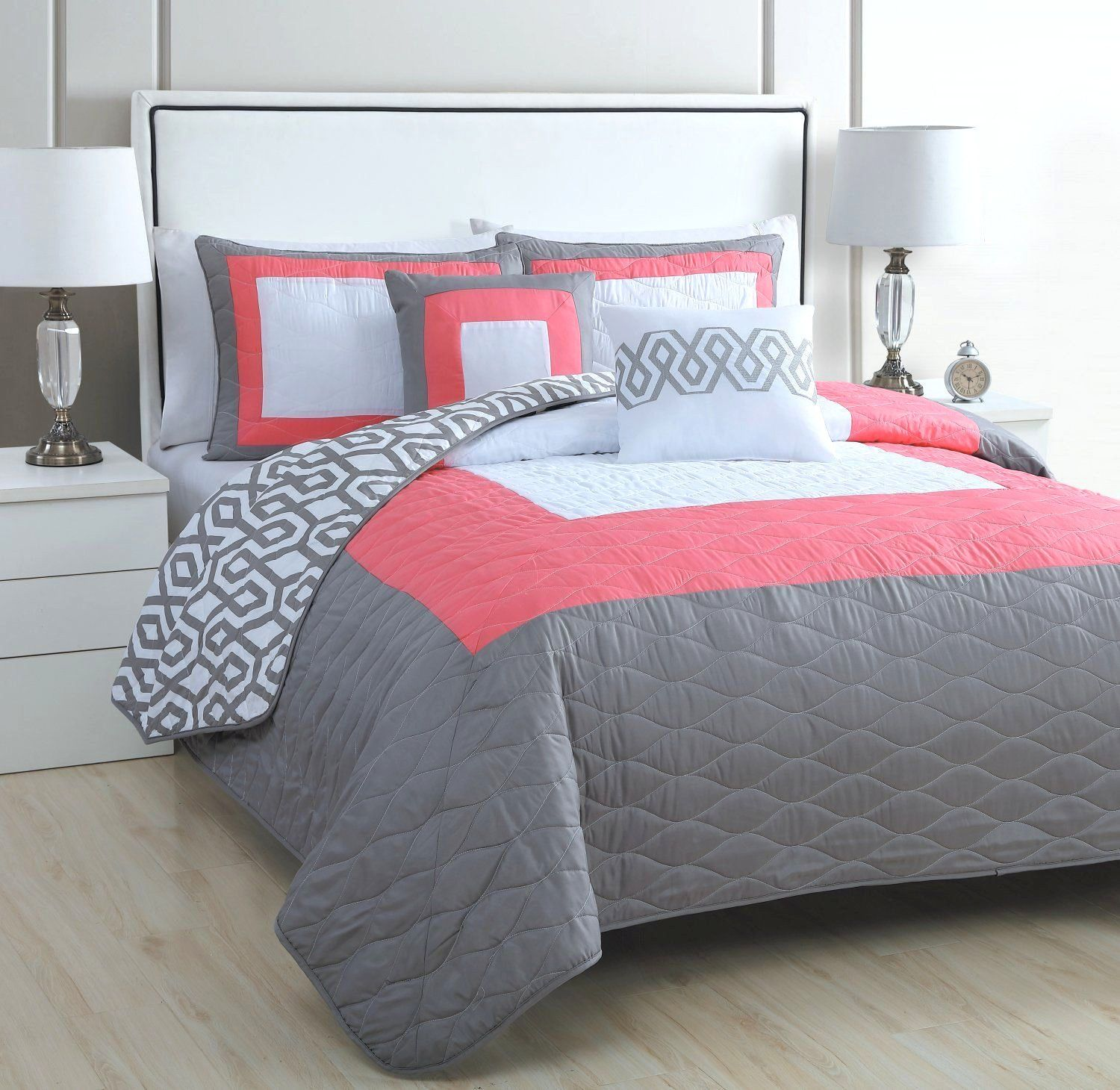 Image result for coral and grey bedding