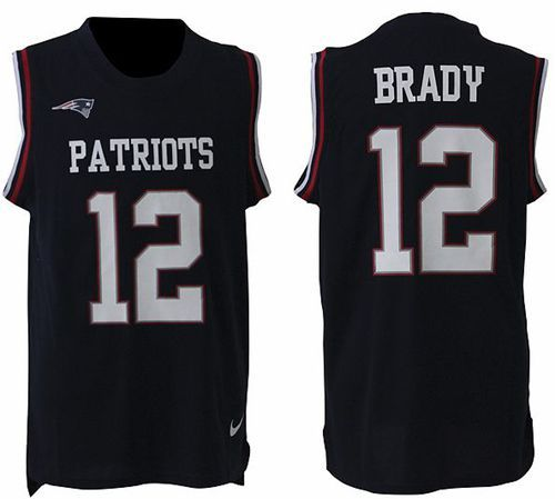 9dd46ab15de Nike Patriots  12 Tom Brady Navy Blue Team Color Men s Stitched NFL Limited  Tank Top Jersey