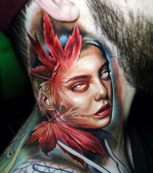 35 Gorgeous Portrait Tattoo Art Design:Amazing Super Cool Piece Neck ...