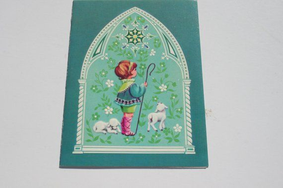 Vintage Used Christmas Card, Cute White Lambs with Shepherd, 1970s