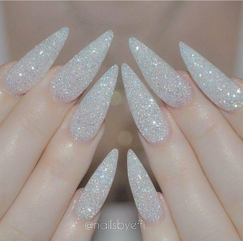 White glitter stiletto nails | Nails | Pinterest | White glitter ...