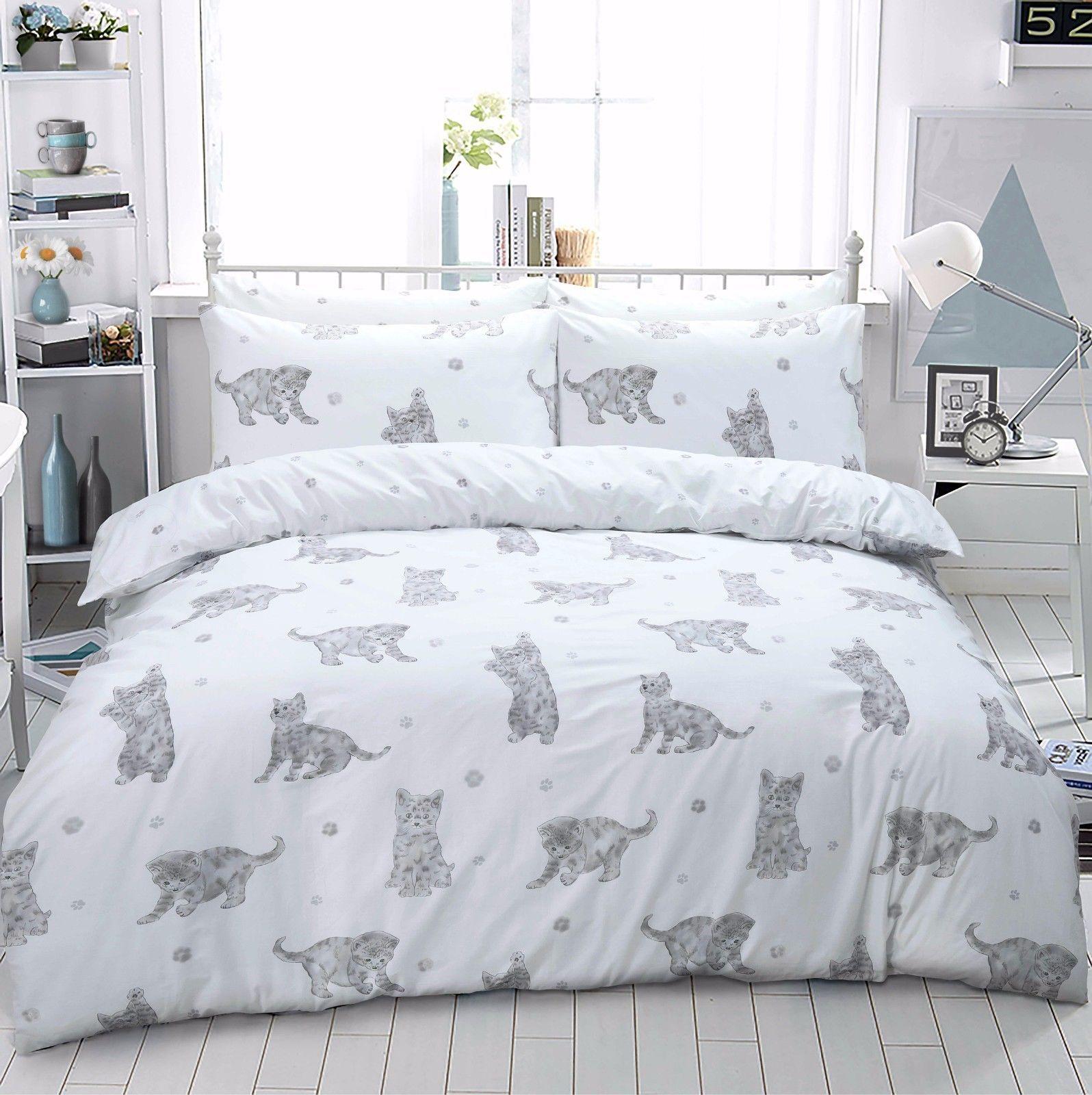 Cat Kitten Printed Duvet Quilt Bedding Set Grey Linens Range Comforter Sets Quilt Sets Bedding Duvet Cover Sets