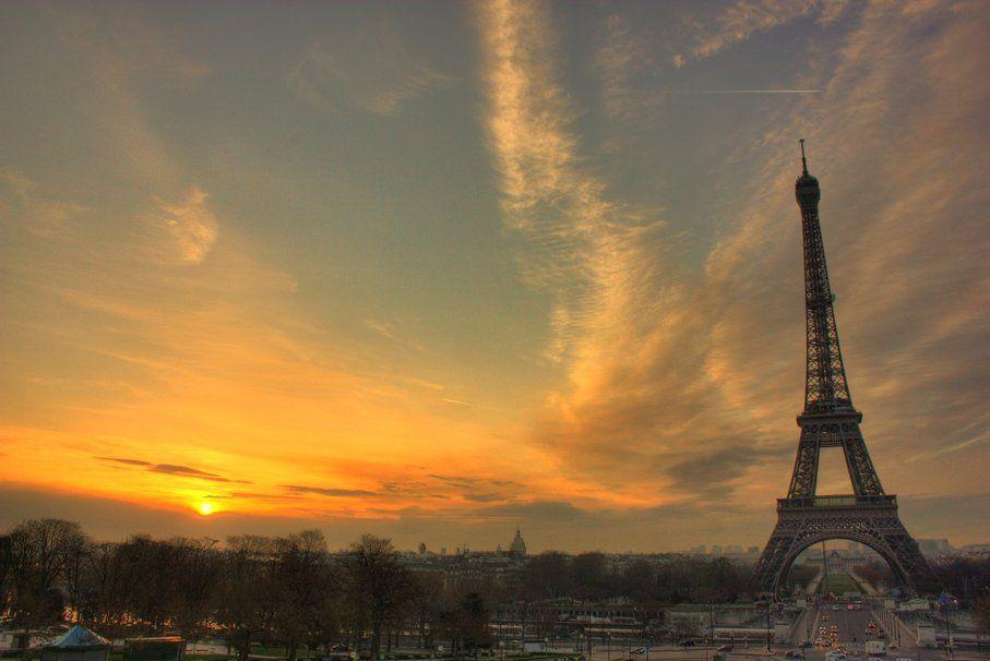 França, paris, Torre eiffel, pôr do sol Vetor
