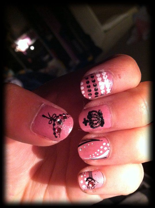 Juicy Couture inspired nails. Drew the crown by hand and then ...