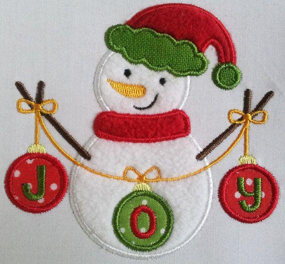 Instant Download Christmas JOY Snowman Applique Machine ...