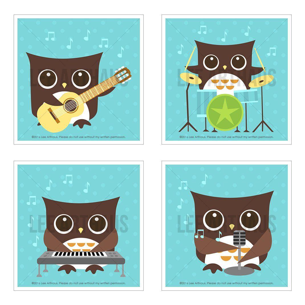 S bright aqua blue rock band musical owls unframed wall art